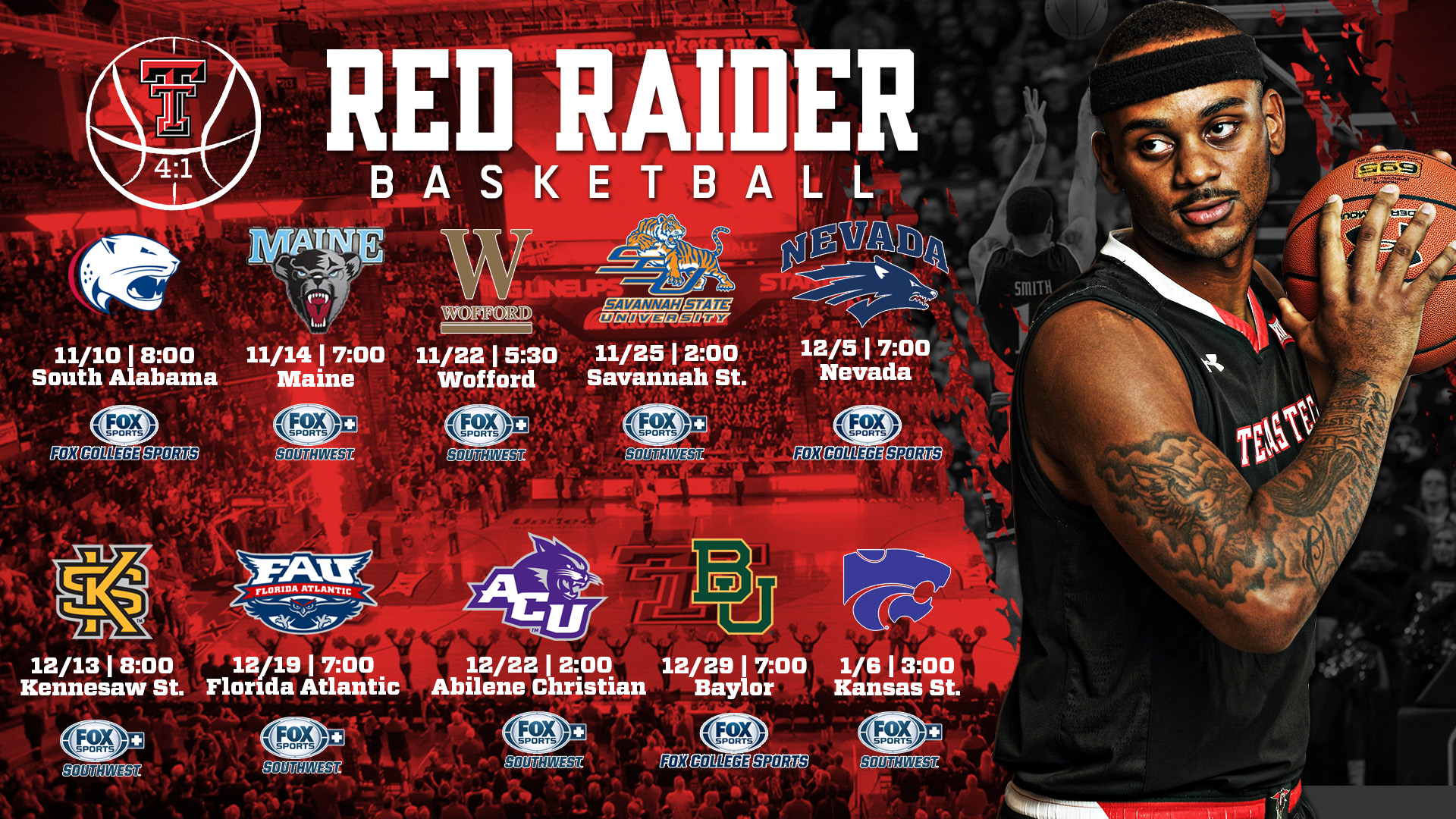men's basketball adds 10 fox appearances - texas tech university