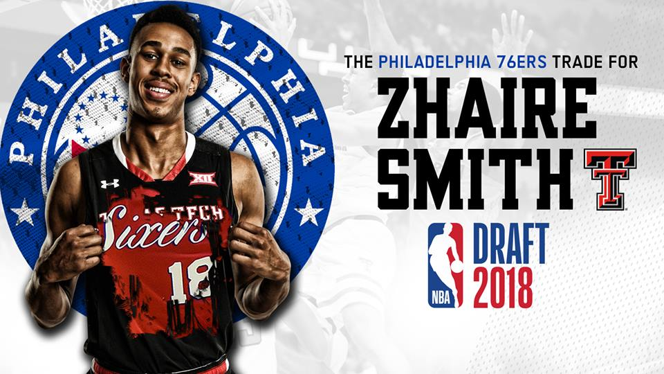 buy popular 4c954 5911d Zhaire Smith Headed to Philadelphia 76ers After NBA Draft ...